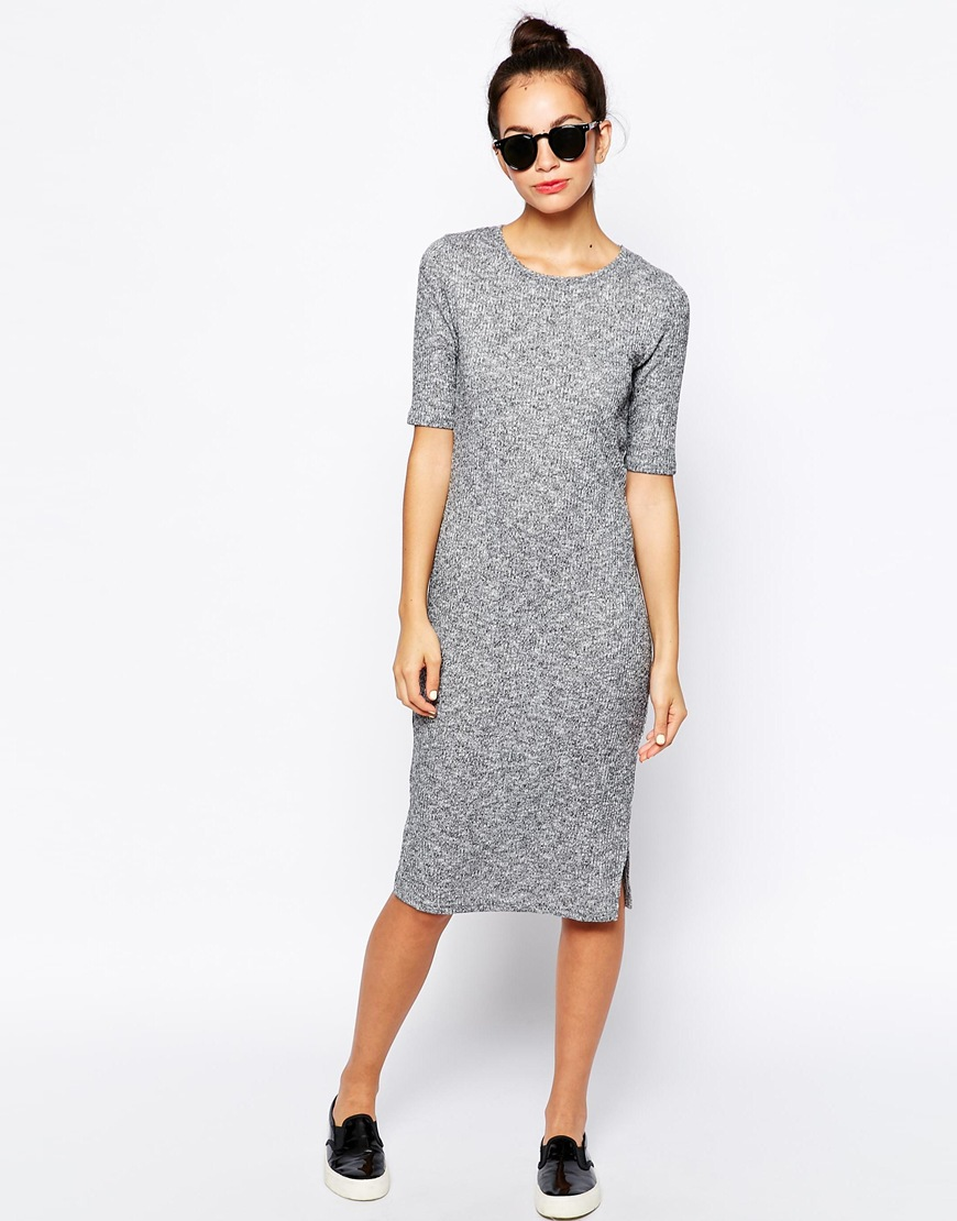 New Look Ribbed Midi Dress at asos.com
