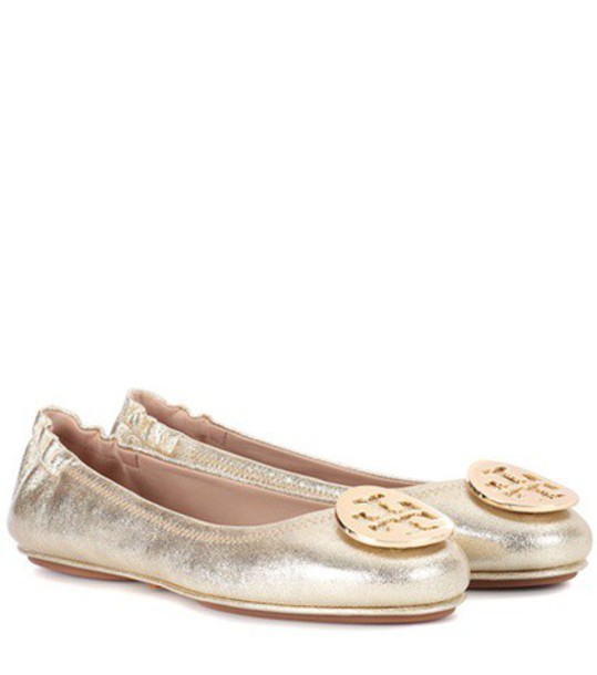 Tory Burch leather gold shoes