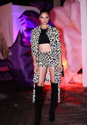 coat,shorts,model off-duty,animal print,leopard print,boots,over the knee boots,crop tops,choker necklace,shanina shaik,fall outfits