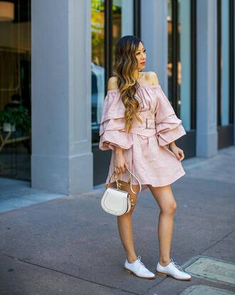 dress tumblr pink dress off the shoulder off the shoulder dress puffed sleeves mini dress shoes white shoes bag handbag