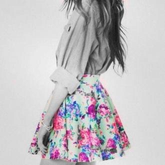 skirt floral flowers skater skirt