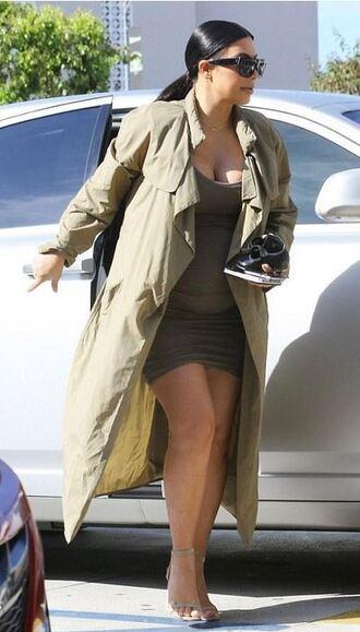 dress coat kim kardashian olive green sandals bodycon dress