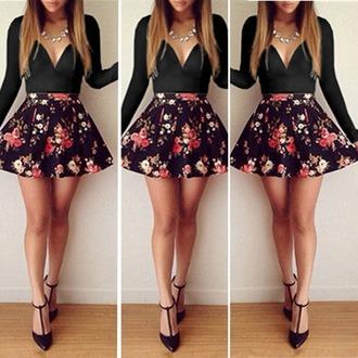 top skirt shirt floral skirt black top black skirt blouse heels jewelry