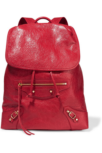 classic backpack leather backpack leather red bag