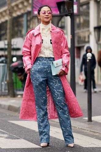 coat pink coat lace lace coat lace pants sunglasses lace top white top wide-leg pants