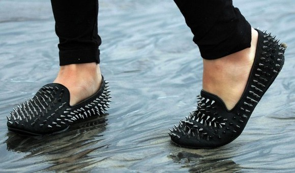 unif shoes spiked studs loafers flats black hellraiser studded shoes