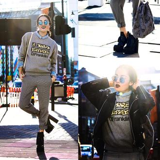 alessandra kamaile blogger sweater pants shirt jacket shoes bag