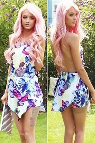 dress zaful floral asymmetrical backless sexy dress cute dress summer dress girly beautiful fashion outfit top bottoms skirt clothes