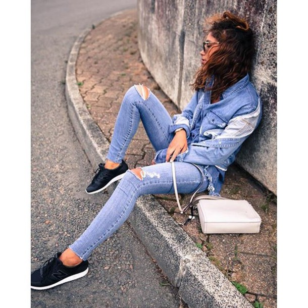 Jeans skinny jeans tumblr denim jacket blue jacket denim blue jeans ripped jeans ...
