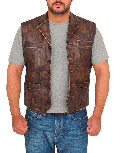 jacket vest brown vest menswear distressed leather leather vest trendy fashion canada usa outterwear biker mauvetree 36683