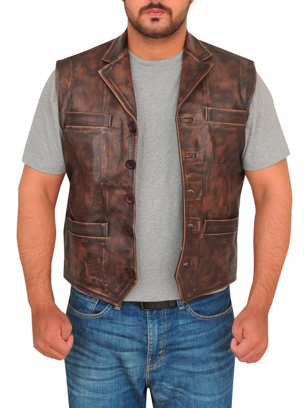 jacket vest brown vest menswear distressed leather leather vest trendy fashion canada usa outterwear biker mauvetree 36683