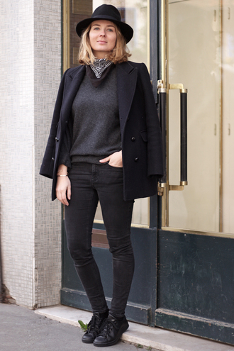 jane's sneak peak blogger pea coat black jeans