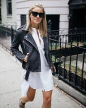 jacket,tumblr,leather jacket,black leather jacket,dress,mini dress,white dress,shirt dress,asymmetrical,sunglasses