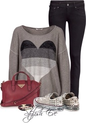 sweater,heart,black and white,jeans,bag,converse,shoes,heart sweater
