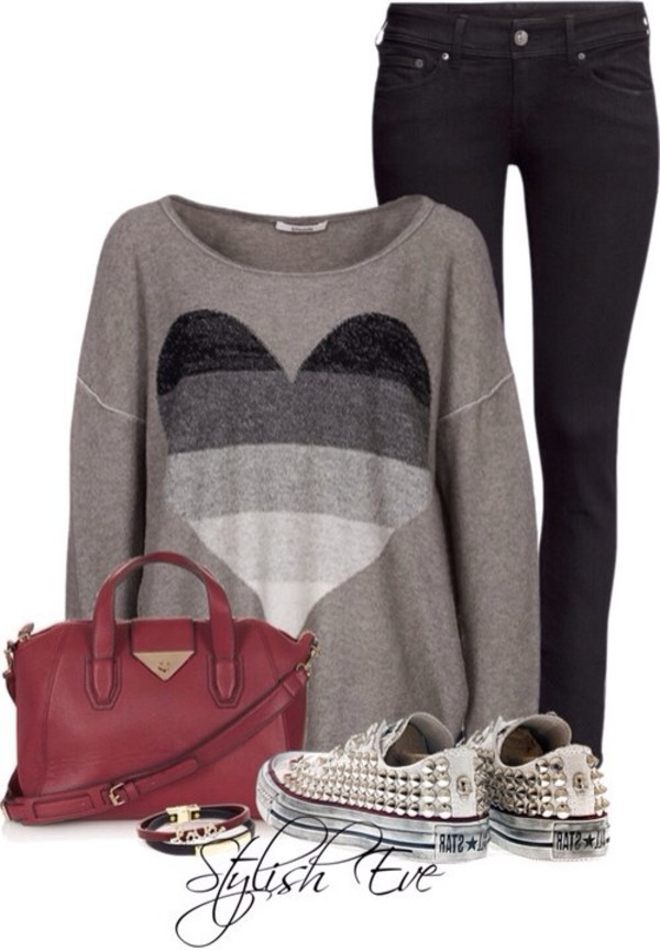sweater heart black and white jeans bag converse shoes heart sweater