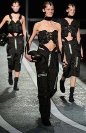 pants,health goth,black pants,top,crop tops,black crop top,alexander wang,sportswear,black choker