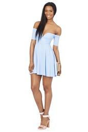 dress,baby blue,off the shoulder dress,skater dress