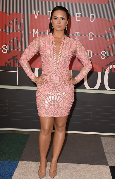 Demi Lovato Pink Dress December 2017