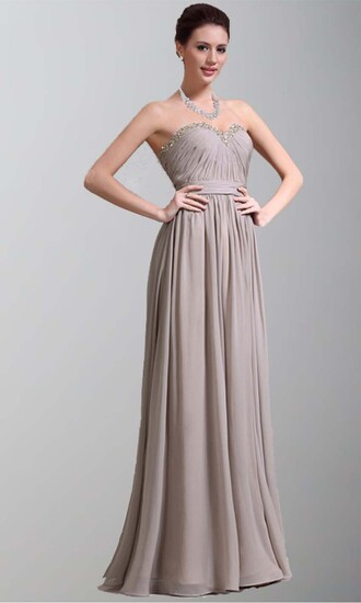 brown dress long prom dress long formal dress sweetheart dresses grey chiffon dress