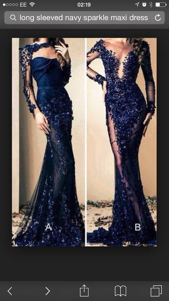 lace dress navy sparkly dress prom dress maxi dress
