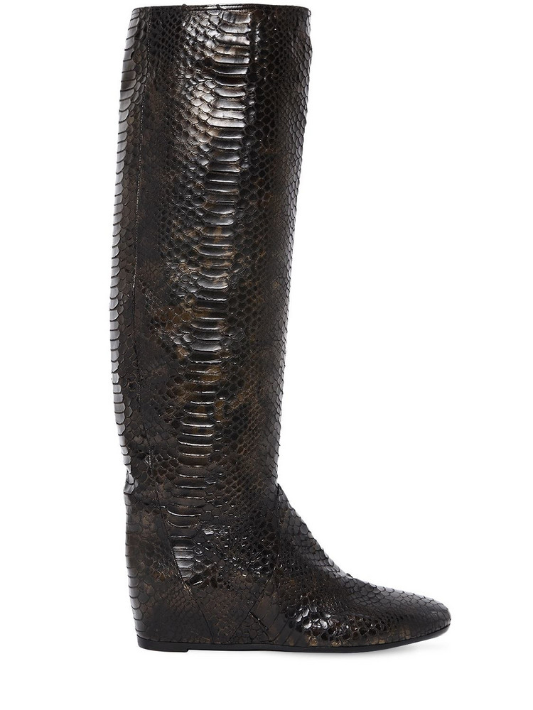ELENA IACHI 50mm Python Embossed Faux Leather Boots in black / gold