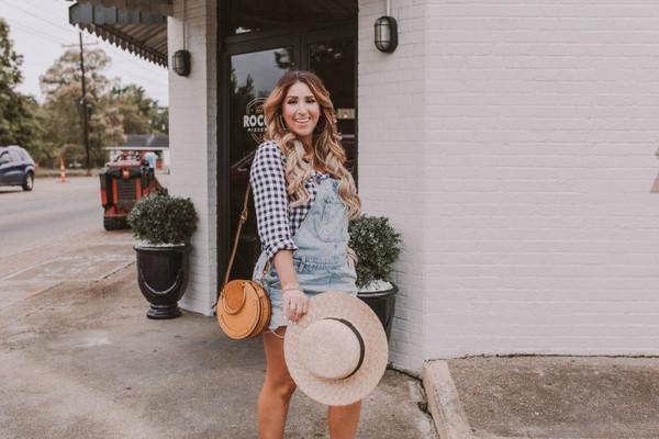 januaryhart blogger blouse shoes bag hat jewels round bag maternity denim overalls