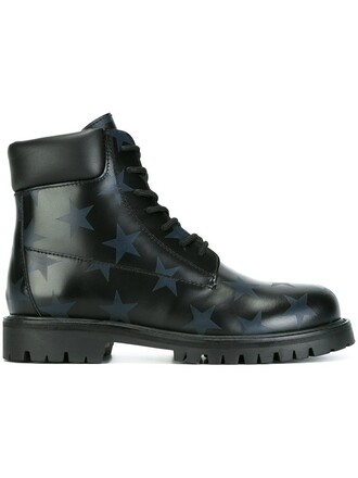 women boots leather print black shoes
