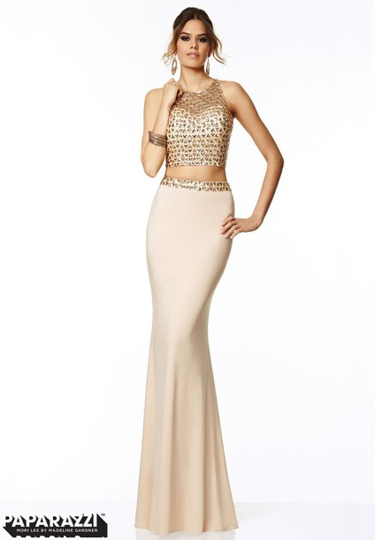 dress prom dress gold two-piece tan