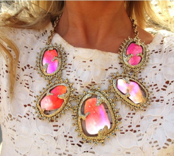 collier jewels yellow jewels necklace geometric galaxy print coloured stones