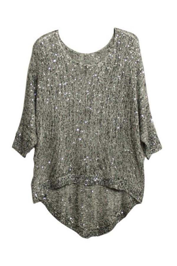 Sweater Top Blouse Sequins Glitter Glitter Sweater