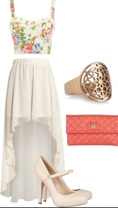 bag,tank top,skirt,shoes,bustier,high low,chiffon,cut-out,clutch,coral,summer outfits,top,maxi skirt,white,beach,sunny,warm weather,shirt,crop tops,floral
