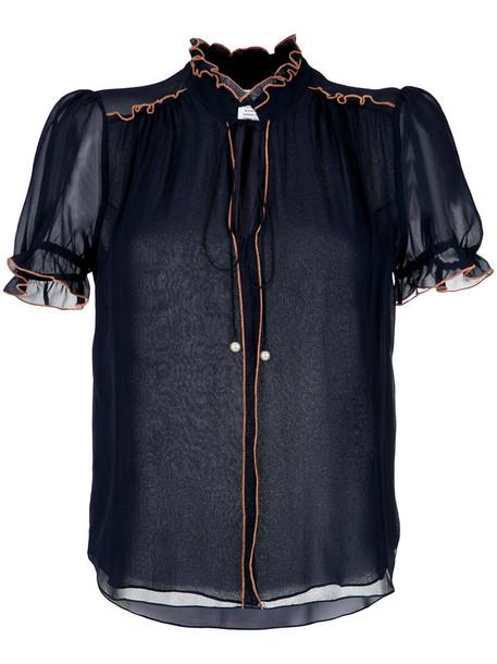 Nk top women blue silk