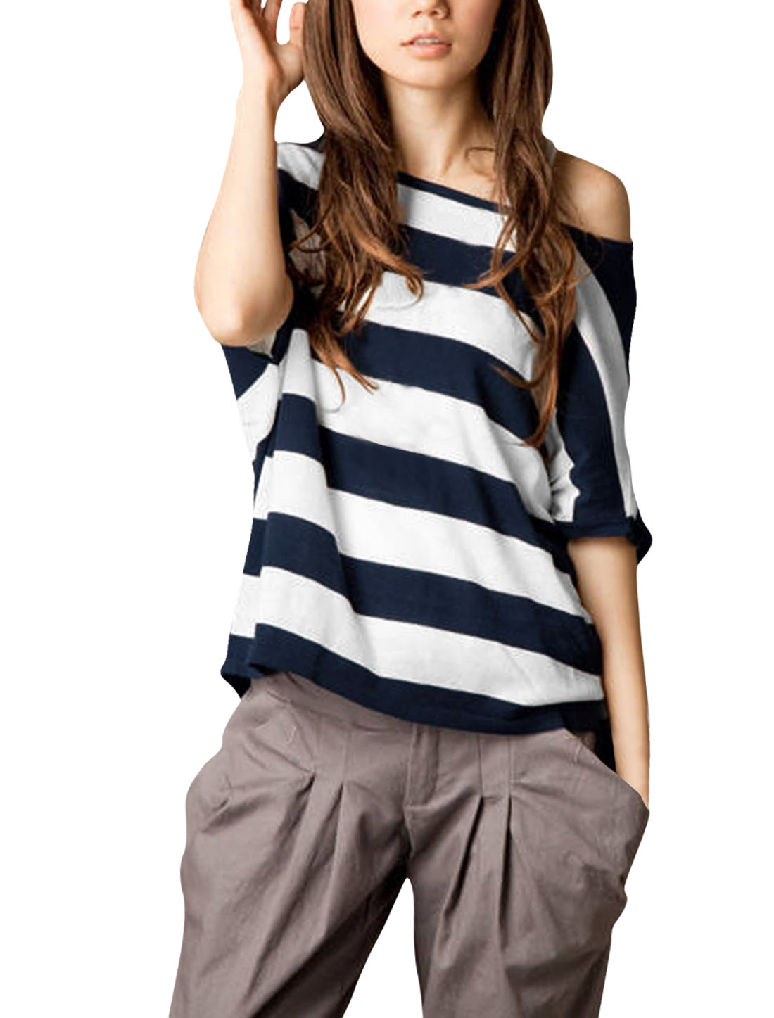 Lady Bat Sleeves Off Shoulder Dark Blue White Striped Shirt S