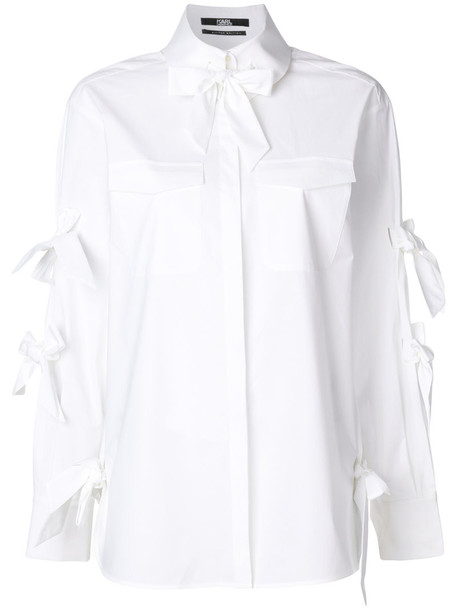 karl lagerfeld shirt bow women spandex white cotton top