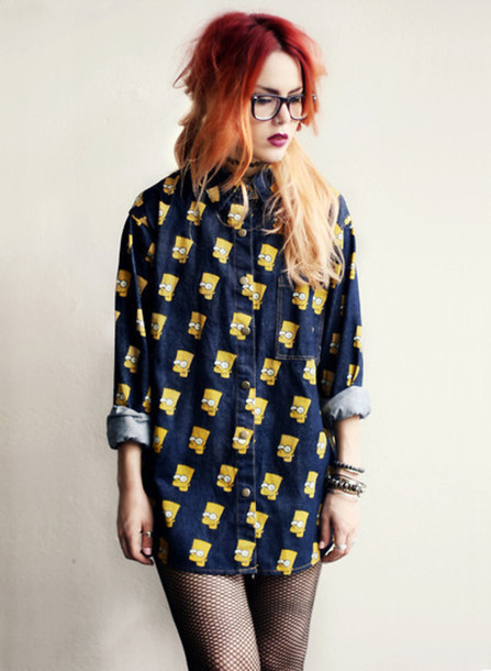 skirt bart simpson the simpsons denim shirt bart simpson the simpsons cartoon blouse blue beautiful amazing must cool top sweater gotta have it oversized sweater yellow white character cuffs cuffed collar collared shirts clothes blouse cute hipster grunge grunge fashion chic the simpsons sleeve long sleeves rolleed sleeve 90s style 90s denim model 90s style 90s grunge le happy jeans jeans blouse luanna perez black navy bart simpson shirt