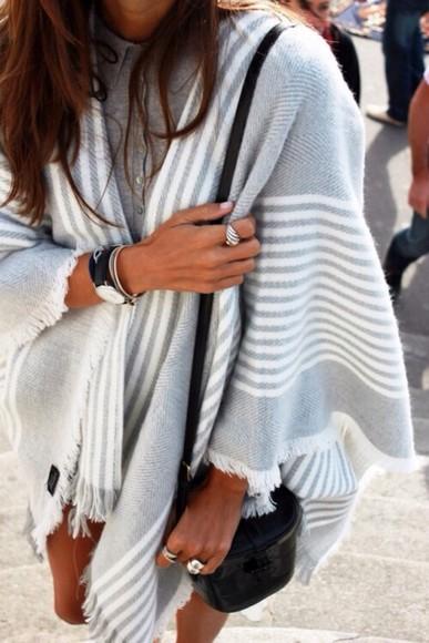 scarf grey poncho stripes