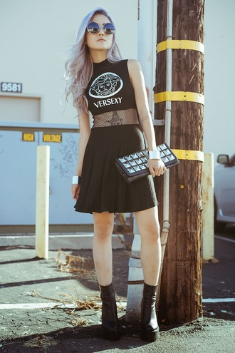 feral creature dress shoes black versexy grunge net fishnet sleeveless cute goth lolita fashion vogue chic style t-shirt crop tops top sunglasses