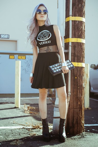 feral creature dress shoes black versexy grunge net fishnet sleeveless cute goth lolita fashion vogue chic style t-shirt crop tops top