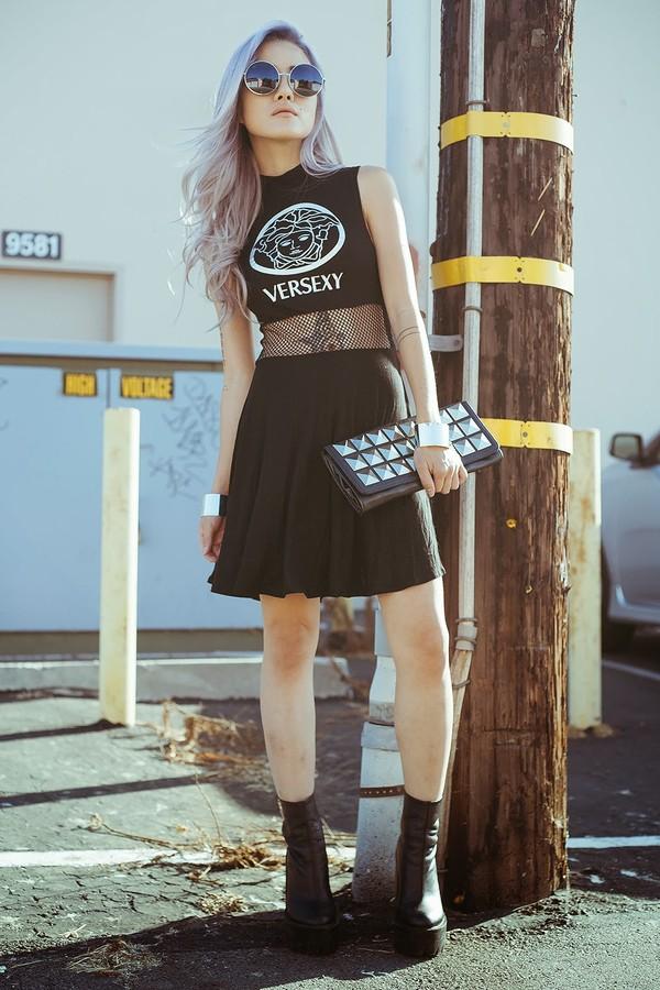 feral creature dress shoes black versexy grunge net mesh sleeveless cute goth lolita fashion vogue chic style t-shirt crop tops top sunglasses
