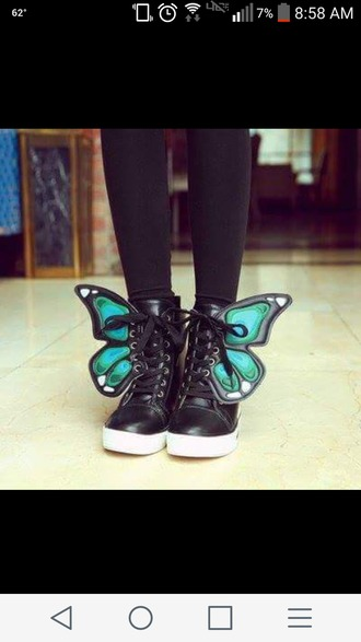 shoes black black sneakers butterfly
