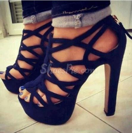 Sexy Black Suede Cut-Outs Chunky Heel Sandals