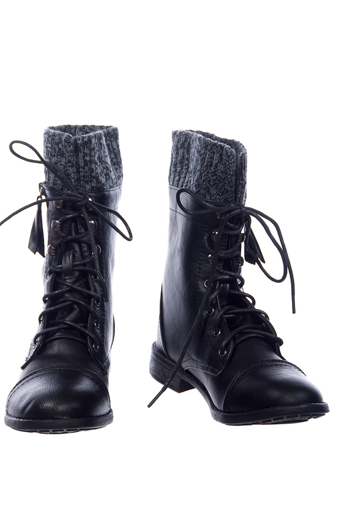 Combat Sweater Cuff Lace Up Combat Boots - Black from Forever Link ...
