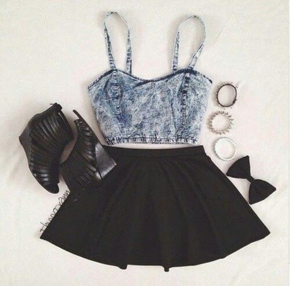 style bralette skirt top crop tops heels bracelets denim bows denim top festival