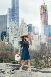 gracefullee made,blogger,dress,hat,bag,jewels,shoes,blue dress,wedges,basket bag,spring outfits