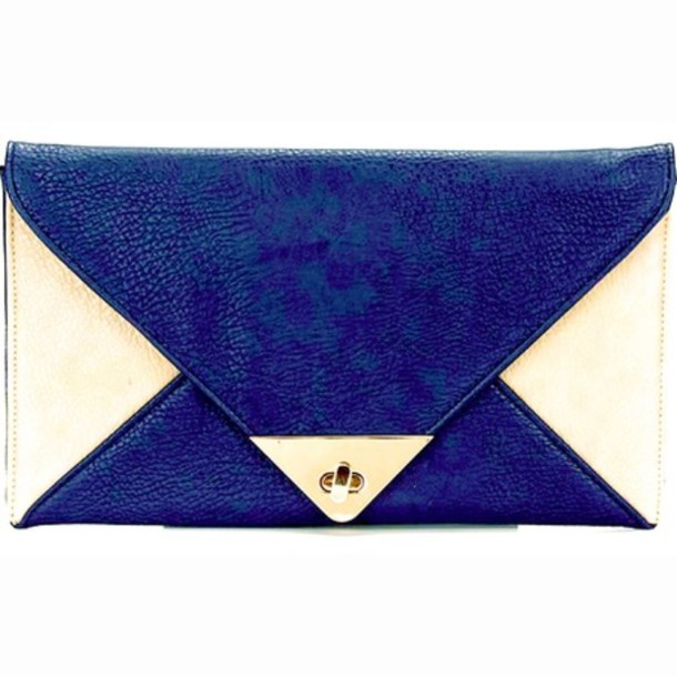 Bag Clutch Blue 80s Style White Envelope Clutch