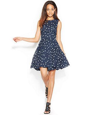 Maison Jules Dress, Sleeveless Polka-Dot-Print A-Line - Dresses - Women - Macy's