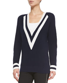 Neck colorblock cashmere sweater