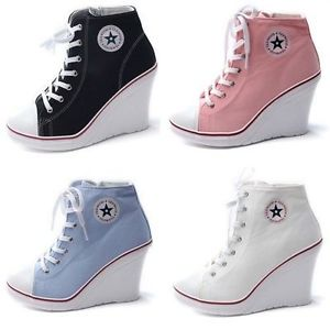 Womens Canvas Zip Platform Wedge Trainers / Lady s Lace Up Ankle Sneakers | eBay