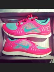 shoes,free runs 3,pink,blue,nike,sneakers,nike lorna jane pink green aqua runners women jogging shoes,canvas,nike free run