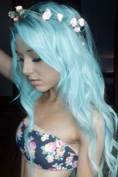 hair accessory shirt blue hair